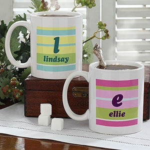 Personalized Coffee Mugs - Crazy for Stripes Monogram Design - 4711