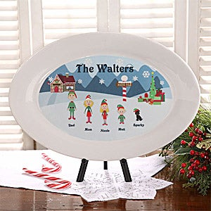Personalized Christmas Family Characters Personalized Platter - 4743
