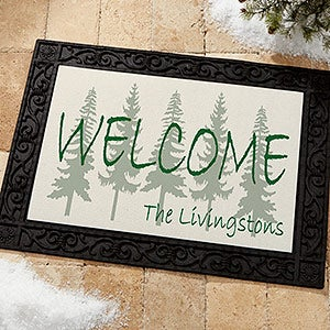 Evergreen Tree Personalized Doormats - Welcome Mats - 4749