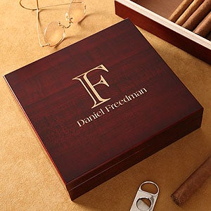 Cherry Wood Personalized Cigar Humidor - 4754
