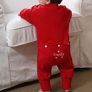 Personalized Baby Coverall Sweetheart Red Romper - 4771