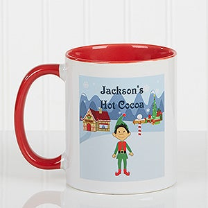 Personalized christmas mugs family character red for Unique christmas mugs