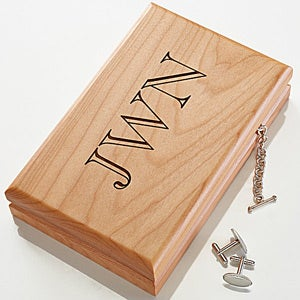 Personalized Men's Wood Valet Jewelry Box With Monogram - 4782