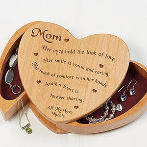 Engraved Wooden Heart Jewelry Box Someone Like You Message