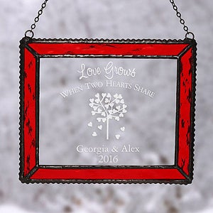 Custom Personalized Red Glass Suncatcher - 4790