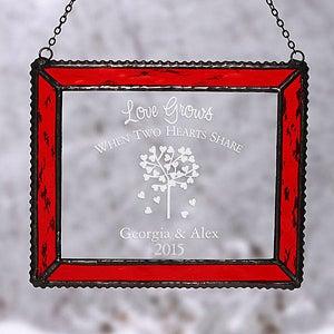 Custom Personalized Red Glass Suncatcher - 4790