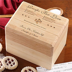 Engraved Wood Recipe Box - Recipe For Love Design - 4803
