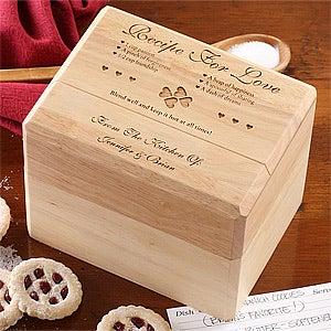Engraved Bamboo Recipe Box - Recipe For Love Design - 4803