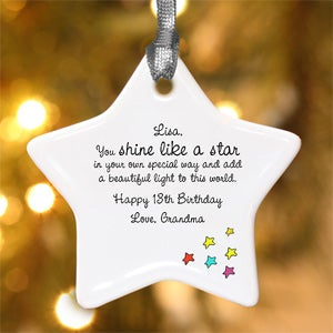 Personalization Mall Personalized Star Christmas Ornament - Shine Like A Star Design at Sears.com
