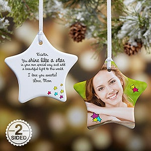 Personalized Star Christmas Ornament - Shine Like A Star Design - 4912