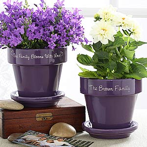 Personalization Mall Family Name Personalized Purple Flower Pot at Sears.com