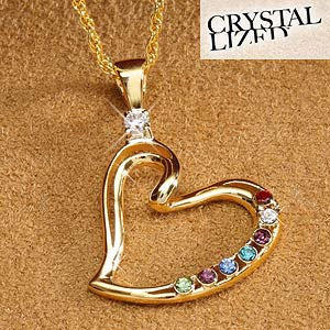 Personalized mothers heart birthstone pendant necklace 18k gold personalized mothers heart birthstone pendant 4951d aloadofball Images