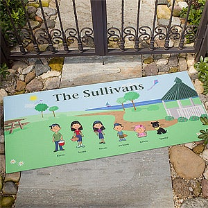Personalized Doormat - Illustrated Spring Family Characters - 4961