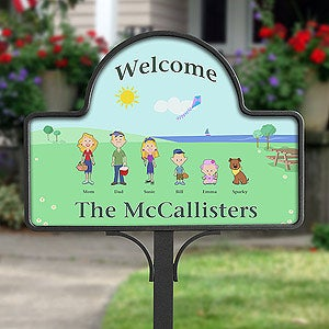 Personalized Yard Stakes - Illustrated Spring Family Characters - 4979