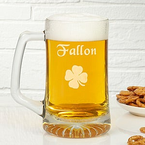 Personalized Irish Beer Mug - Glass Four Leaf Clover Design - 4993