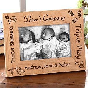 Custom Engraved Wood Picture Frame - Triplets Design - 5086