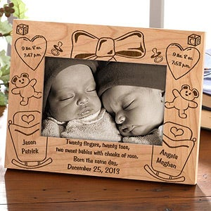 Personalized Twins Wood Picture Frame - Double Delivery - 5094