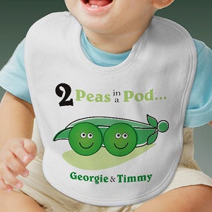 Personalization Mall Personalized Twins Baby Bib - 2 Peas In A Pod at Sears.com