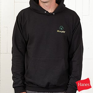 Embroidered Irish Shamrock Black Hooded Sweatshirt - 5154