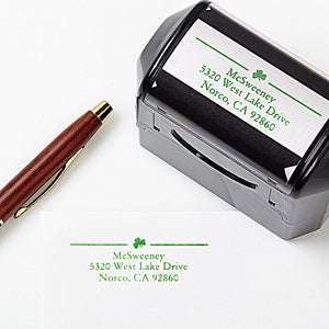 Personalized Return Address Self-Inking Stamper Irish Shamrock - 5178