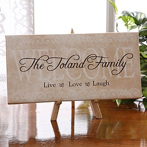 Live, Laugh, Love Personalized Canvas Art Welcome Sign - 5252