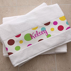 Personalized Cotton Bath Towels - Polka Dot Design - 5276