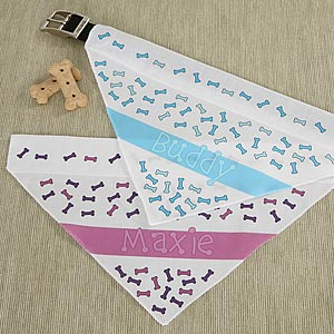 Dog Bone Personalized Dog Bandanas - 5279