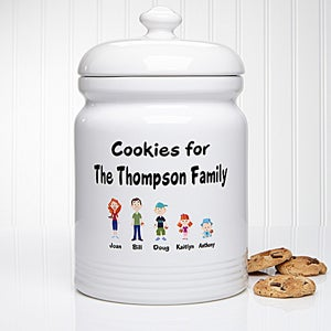 family characters personalized ceramic cookie jar