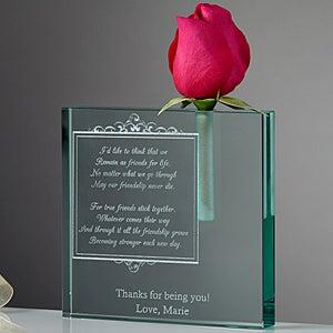 Personalized Friendship In Bloom Glass Keepsake Bud Vase - 5330