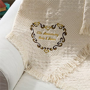 Embroidered Wedding & Anniversary Personalized Heart Afghan - 5413