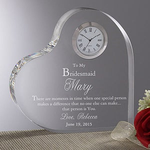 Personalised Clock Wedding Gift India : Personalized Bridesmaids Gifts - Engraved Heart Clock - Wedding Gifts