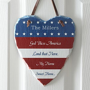 God Bless American Personalized Flag Wall Plaque - 5467