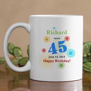 Personalized Birthday Coffee Mug - Confetti Birthday Design - 5528