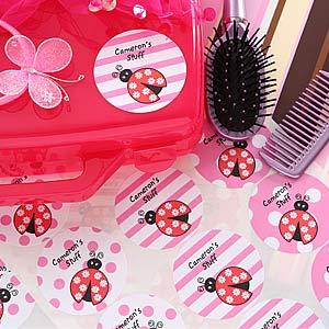 Girls Personalized Ladybug Name Stickers - 5638