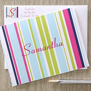 Personalized Striped Note Cards for Girls - 5654