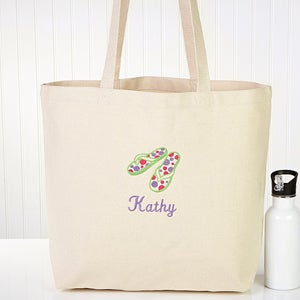 Ladies Personalized Beach Tote Bag - Flip Flop Fun