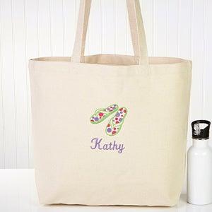 ladies personalized beach tote bag flip flop fun