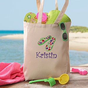 Kids Personalized Beach Tote Bag - Flip Flop Fun