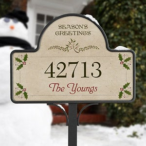 Season's Greetings Personalized Address Plaque - 5696
