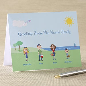 Cartoon Family Personalized Note Cards - 5699