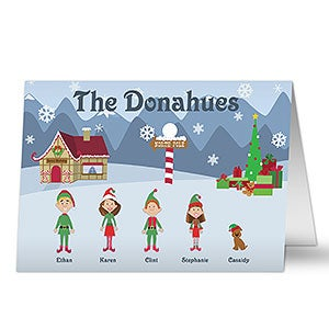 Family Cartoon Character Personalized Christmas Cards - 5701