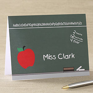 Teacher's Chalkboard Personalized Note Cards - 5755
