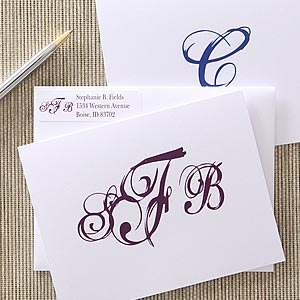 Personalized Note Cards - Script Monogram - 5767