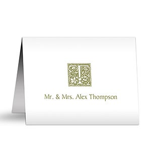Floral Monogram Personalized Note Cards - 5768