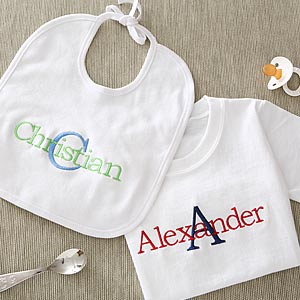 Personalized Embroidered Baby Clothes - Boys Name & Initial - 5791