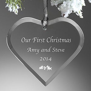 Personalized Christmas Ornaments - Glass Heart  - 5809