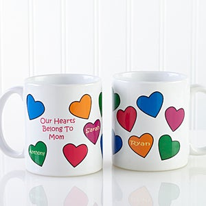 Personalized Ceramic Coffee Mug - Our Hearts Belong To You - 5837