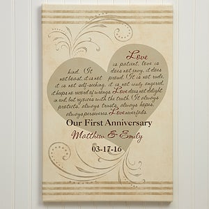 Personalized Wedding & Anniversary Canvas Art - Love Is Patient  - 5853