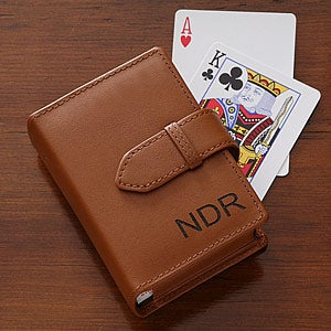 Personalized Leather Playing Card Case - Double Deck - 5888
