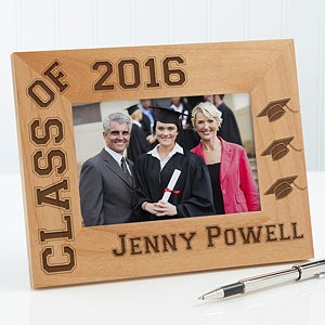 Personalized Wooden Graduation Photo Frame - Hats Off Edition - 5903
